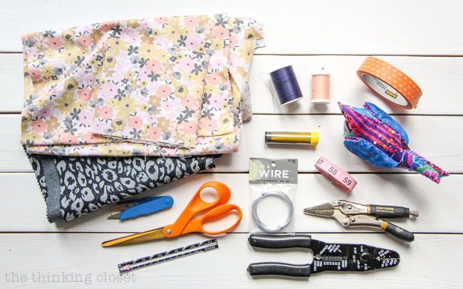 Supplies to gather in order to create your very own DIY Wire Head Scarf. Another inspirational creation from Scarf Week! And a beginner sewing tutorial to boot!