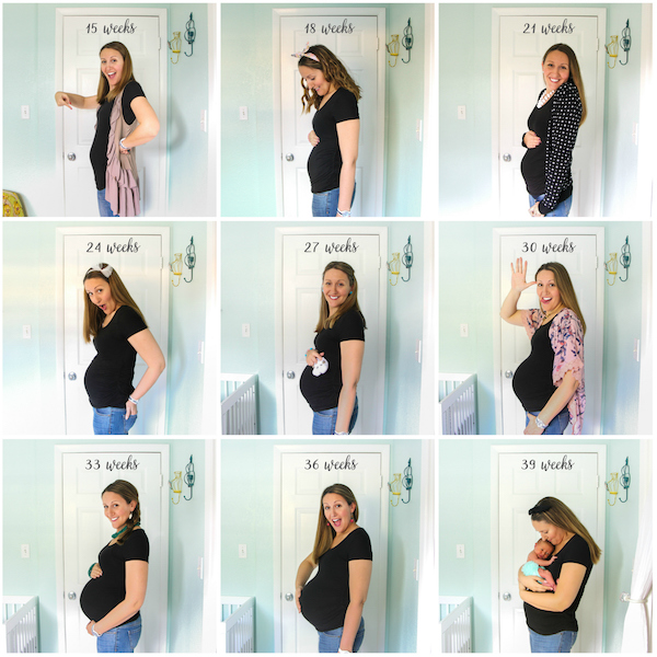 Pregnancy Milestone Photo Collage for Nursery Wall Art! Such a fun way to mark those special 9 months and that growing belly.