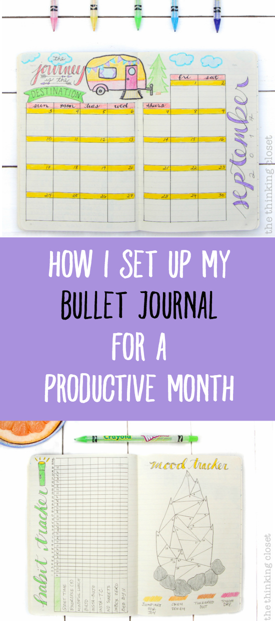 """Plan With Me"" VIDEO: how to set up your bullet journal spreads for a productive new month using a camper adventure theme. Inspiration for your monthly log, monthly task list, habit tracker, mood tracker, gratitude log, weekly log, and dailies!"