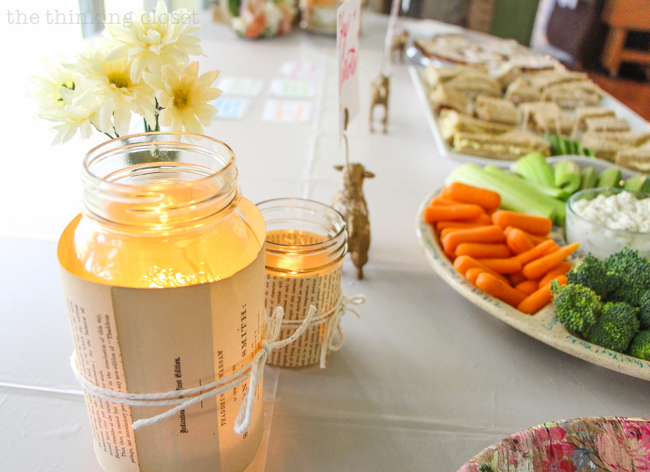 DIY Book Page Mason Jar Candle Holders | Perfect for a romantic birthday tea party or vintage style wedding! Yep. It's as easy as you imagine. Here's the step by step!
