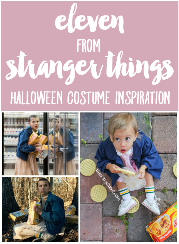 """""""Eleven"""" 011 from """"Stranger Things"""" Halloween Costume Inspiration for a baby or toddler...plus a punny Halloween costume for the parents as the """"Stranger Things!"""" Check out the full post for the whole run-down!"""