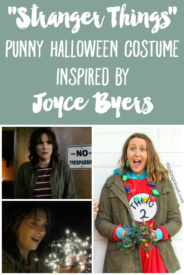 """""""Stranger Things"""" Punny Halloween Costume for the Family...here's """"Stranger Thing 2,"""" inspired by Joyce Byers from the Netflix series. Gotta rock the iconic army green jacket and Christmas lights! Check out the post for the other characters in this family costume trio!"""