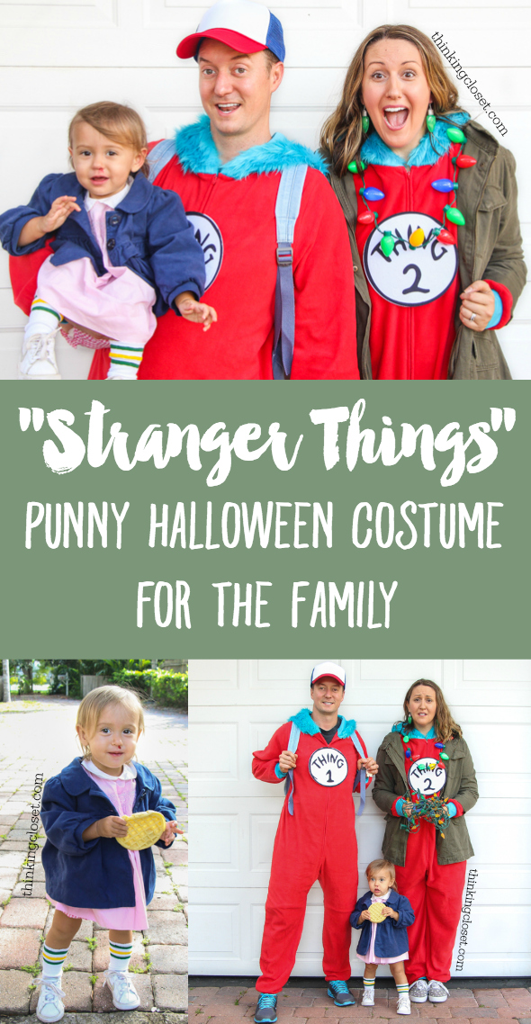 stranger things eleven punny halloween costume for a family of 3