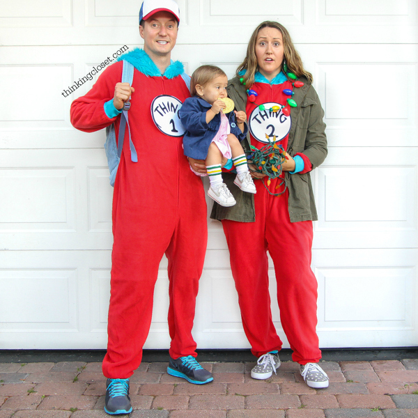 """""""Stranger Things"""" & """"Eleven"""" Punny Halloween Costume for a Family of 3 with a baby or toddler! Here's the inside scoop for how we pulled together our creative punny Halloween costumes featuring 011, Dustin, & Joyce Byers...including a D.I.Y. tutorial for making Eleven's iconic tube socks in baby size. Also, check out our punny Halloween costumes from the past 5 years! So many great last-minute costumes in this mix."""