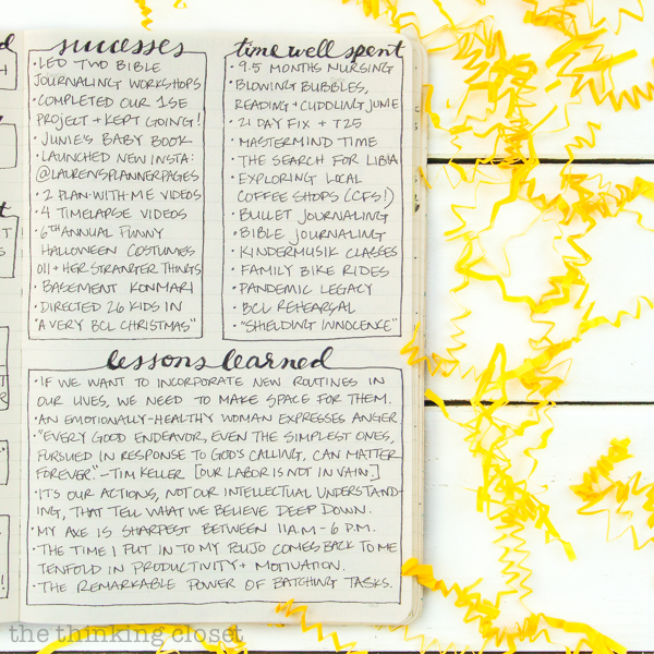 """One important thing before we take on a new year.   Here's how to conduct a """"year in review"""" in your bullet journal or favorite notebook to practice gratitude for ALL that last year brought and clarify your goals for the future!"""