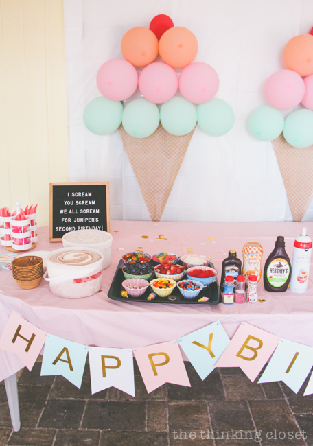 Ice Cream Sundae Station With So Many Yummy Topping Options At An Themed Birthday